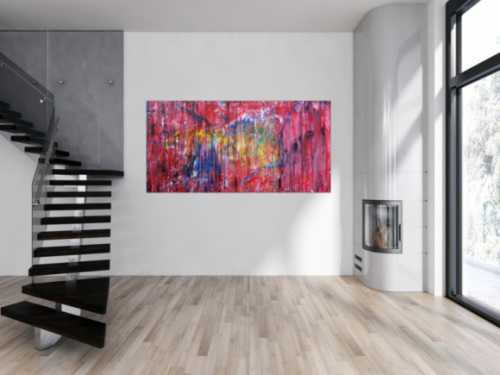 Abstraktes Acrylbild sehr modern Action Painting Mischtechnik fließende Farben viel rot bunt gelb blau