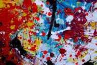 Detailaufnahme Abstraktes Acrylbild sehr bunt Action Painting Splash Art zeitgenössisch expressionistisch modern