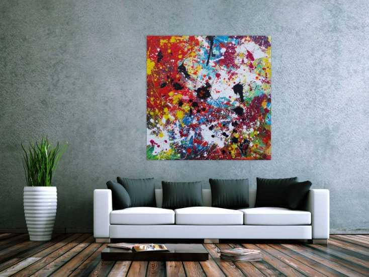#1211 Abstraktes Acrylbild sehr bunt Action Painting Splash Art ... 120x120cm von Alex Zerr