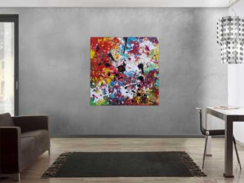 Abstraktes Acrylbild sehr bunt Action Painting Splash Art zeitgenössisch expressionistisch modern