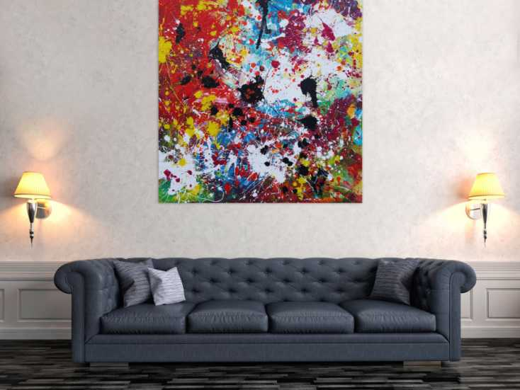 #1211 Abstraktes Acrylbild sehr bunt Action Painting Splash Art ... 120x120cm von Alex Zerr