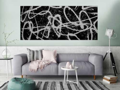 Abstraktes Acrylbild schwarz weiß schlicht modern Action Painting Splash Art Expressionismus