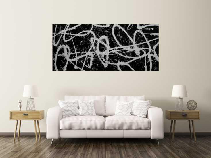 #1212 Abstraktes Acrylbild schwarz weiß schlicht modern Action Painting ... 90x200cm von Alex Zerr