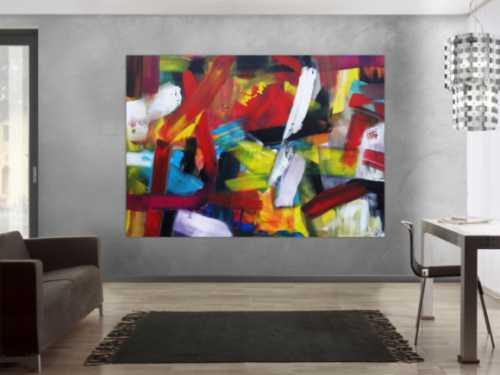 Abstraktes Acrylbild sehr bunt modern Mischtechnik Modern Art sehr bunt viele Farben zeitgenössisch