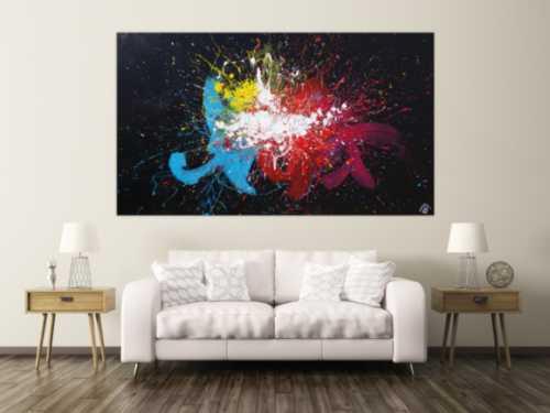 Abstraktes Acrylbild sehr bunt auf schwarzem Hintergrund Modern Art Action Painting Splash Art