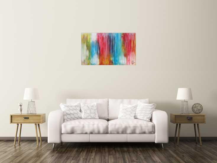 abstraktes acrylbild sehr bunt moderne farben flie ende farben mischtechnik modern bunt. Black Bedroom Furniture Sets. Home Design Ideas