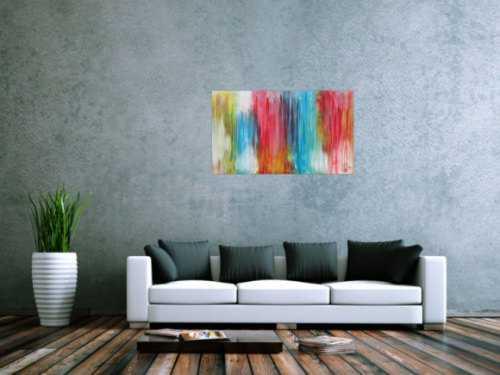 Abstraktes Acrylbild sehr bunt moderne Farben Fließende Farben Mischtechnik modern bunt zeitgenössisch