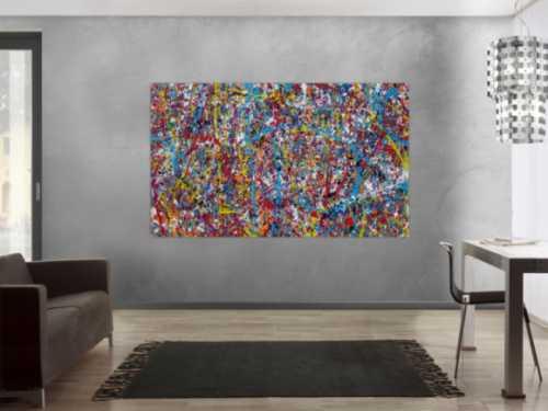 Abstraktes Acrylbild Action Painting zeitgenössisch expressionistisch Mischtechnik Splash Art sehr modern bunt viele Farben