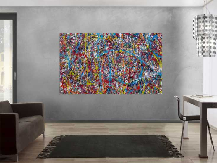 #1216 Abstraktes Acrylbild Action Painting zeitgenössisch ... 120x200cm von Alex Zerr
