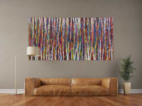 Abstraktes Acrylbild sehr bunt viele Farben Action Painting Modern Art zeitgenössisch expressionistisch