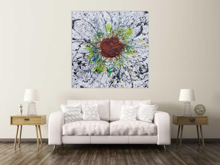 #1218 Abstraktes Acrylbild aus echtem Rost und Acryl Mischtechnik Splash ... 140x140cm von Alex Zerr