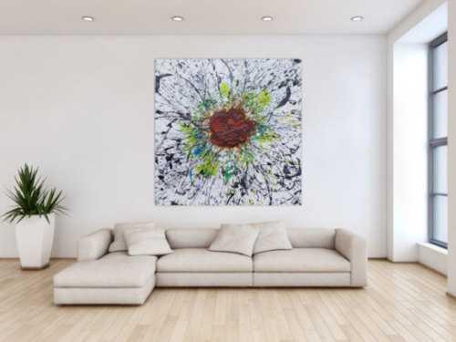 Abstraktes Acrylbild aus echtem Rost und Acryl Mischtechnik Splash Art aus Rost sehr modern zeitgenössisch