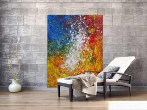 Abstraktes Acrylbild sehr bunt gelb rot blau weiß Splash Art Mischtechnik Spachteltechnik Modern Art