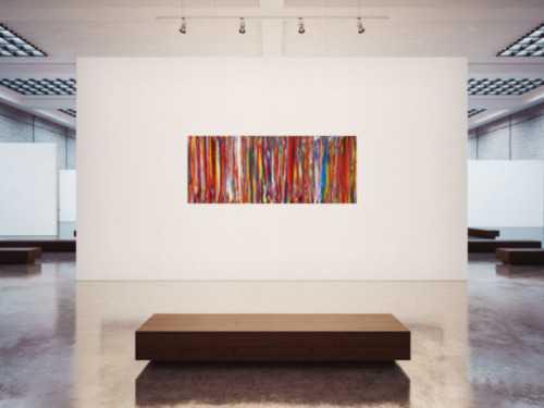 Abstraktes Acrylbild bunte Streifen sehr viele Farben Spachteltechnik sehr modern zeitgenössisch