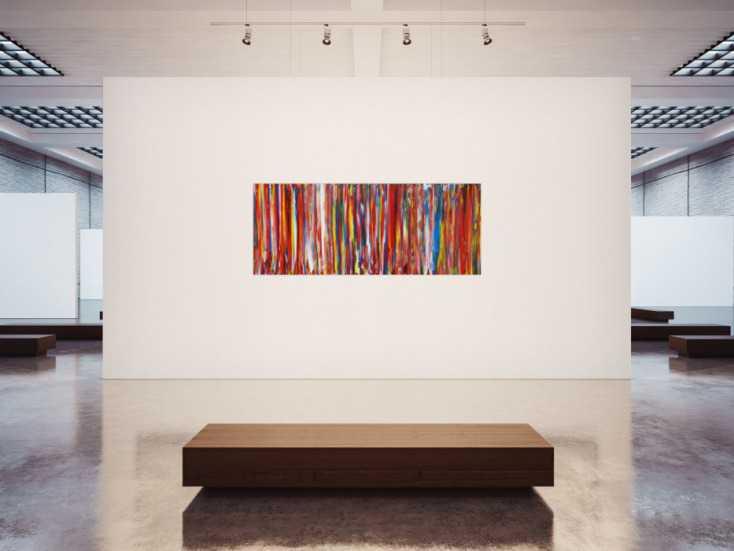 #1220 Abstraktes Acrylbild bunte Streifen sehr viele Farben Spachteltechnik ... 80x200cm von Alex Zerr
