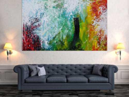 Abstraktes Acrylbild Action Painting Splash Art sehr bunt modern zeitgenössisch handgemalt
