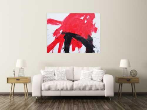 Abstraktes Acrylbild sehr modern in weiß rot schwarz zeitgenössisch Action Painting