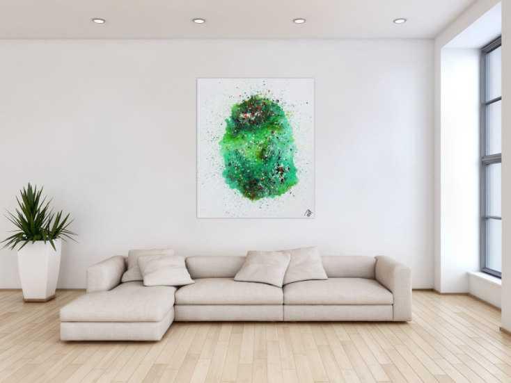 #1223 Abstraktes Acrylbild Fließtechnik viel grün sehr modern bunte ... 120x100cm von Alex Zerr