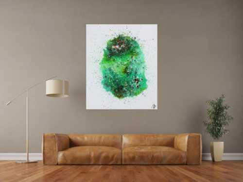 Abstraktes Acrylbild Fließtechnik viel grün sehr modern bunte Farben zeitgenössisch