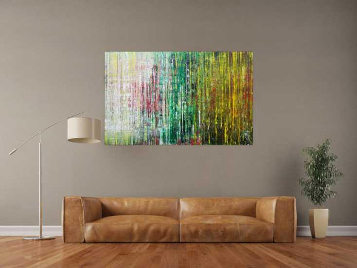 #1224 Abstraktes Acrylbild spachteltechnik sehr modern weiß grün gelb ... 90x140cm von Alex Zerr