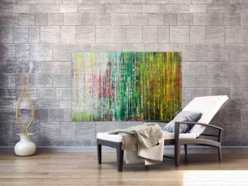 Abstraktes Acrylbild spachteltechnik sehr modern weiß grün gelb handgemalt zeitgenössisch