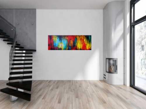 Abtraktes Gemälde modern bunt mit schwarz mischtechnik zeitgenössisch
