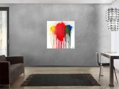 Abstraktes Acrylbild modern in fließtechnis rot gelb grün blau auf weiß zeitgenössisch