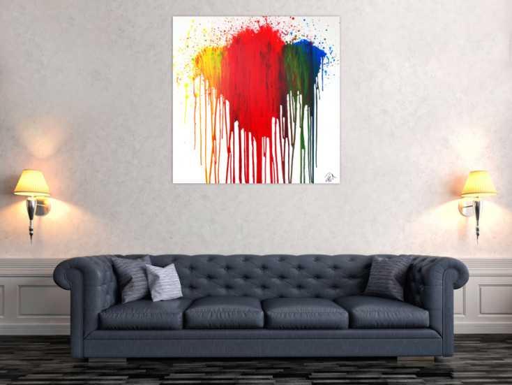 #1228 Abstraktes Acrylbild modern in fließtechnis rot gelb grün blau auf ... 100x100cm von Alex Zerr