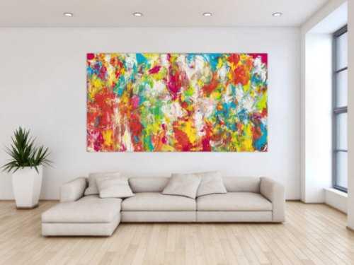 Abstraktes Bild Acryl modern bunt Mischtechnik weiß rot türkis grün gelb