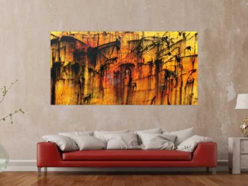 Modernes Acryl Gemälde in orange