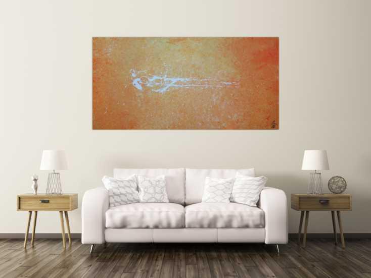 #1230 Abstraktes Acrylbild modern schlicht in orange weiß zeitgenössisch 100x200cm von Alex Zerr