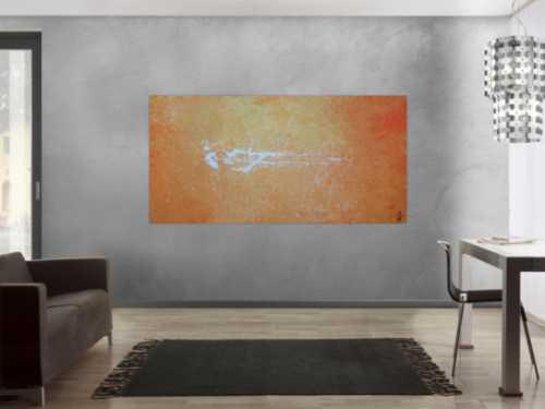 Abstraktes Acrylbild modern schlicht in orange weiß zeitgenössisch