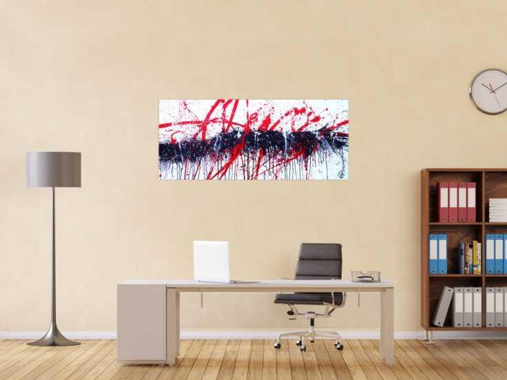 #1231 Abstraktes Acrylbild modern Action Painting in weiß schwarz rot 60x140cm von Alex Zerr