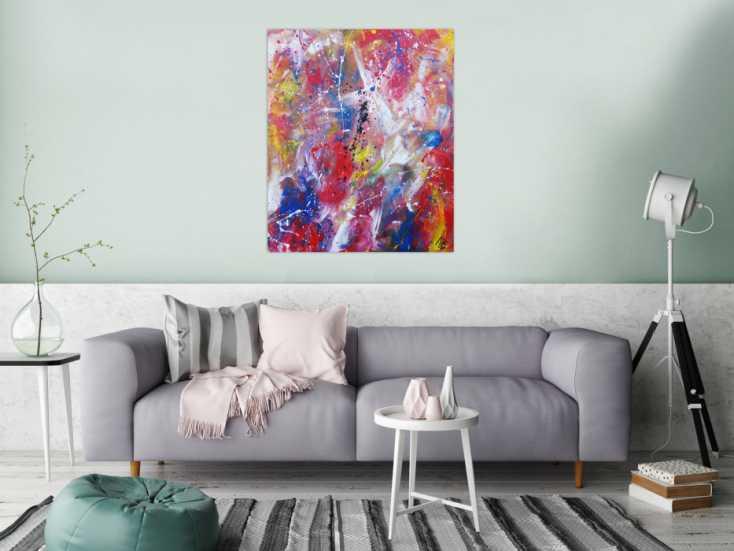 #1232 Abstraktes Acrylbild bunt modern Mischtechnik Action Painting ... 100x80cm von Alex Zerr