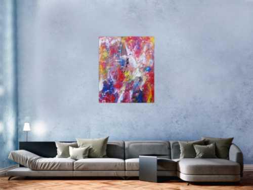 Abstraktes Acrylbild bunt modern Mischtechnik Action Painting zeitgenössisch