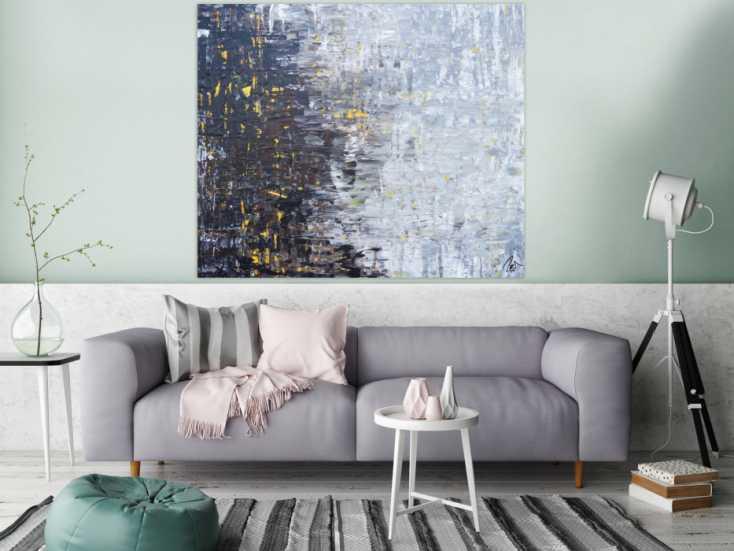 #1233 Abstraktes Acrylbild Spachteltechnik modern in grau schwarz braun 120x140cm von Alex Zerr