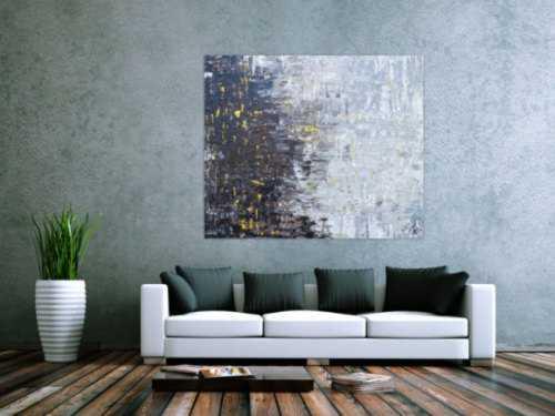 Abstraktes Acrylbild Spachteltechnik modern in grau schwarz braun