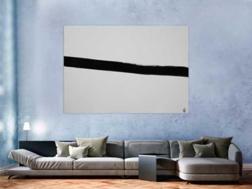 Abstraktes Acrylbild Minimalistisch schwarzer Streifen auf weißem Hintergrund zeitgenössisch schlicht