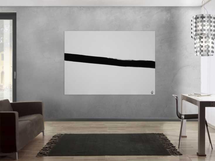 #1235 Abstraktes Acrylbild Minimalistisch schwarzer Streifen auf weißem ... 130x180cm von Alex Zerr