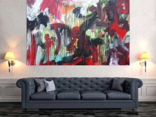 Abstraktes Acrylbild modernes Gemälde Mischtechnik rot schwarz weiß