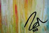 Detailaufnahme Abstraktes Acrylbild pastell Farben bunt hell modern orange rosa weiß hellblau