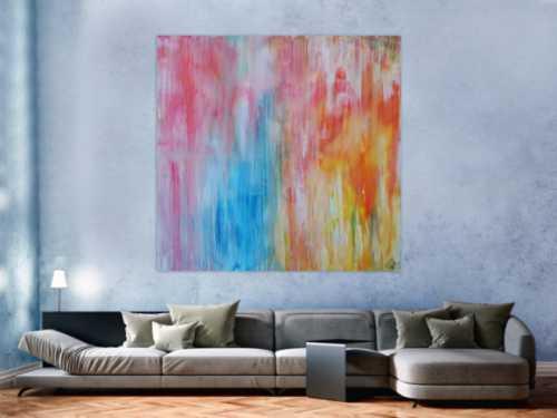 Abstraktes Acrylbild pastell Farben bunt hell modern orange rosa weiß hellblau