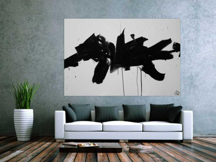 #1238 Abstraktes Acrylbild Action Painting schwarz weiß auf Leinwand ... 130x190cm von Alex Zerr