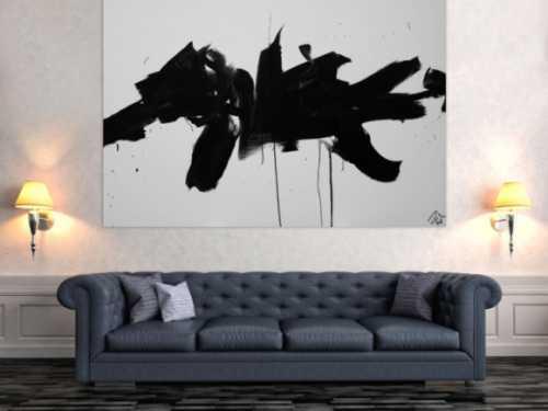 Abstraktes Acrylbild Action Painting schwarz weiß auf Leinwand modern schlicht
