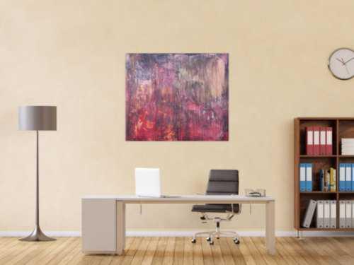 Abstraktes Acrylbild moderne Mischtechnik in rot orange altrosa anthrazit