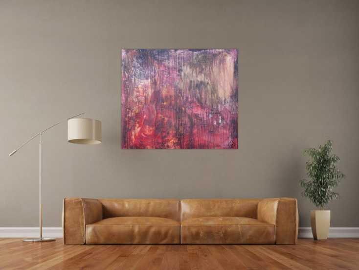 #1239 Abstraktes Acrylbild moderne Mischtechnik in rot orange altrosa ... 100x110cm von Alex Zerr