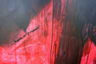 Detailaufnahme Abstraktes Acrylbild modern zeitgenössische Mischtechnik in rot und schwarz