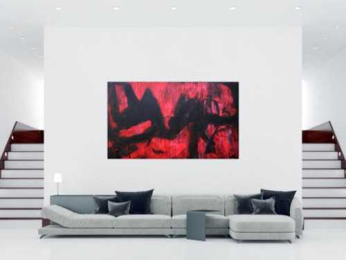 Abstraktes Acrylbild modern zeitgenössische Mischtechnik in rot und schwarz