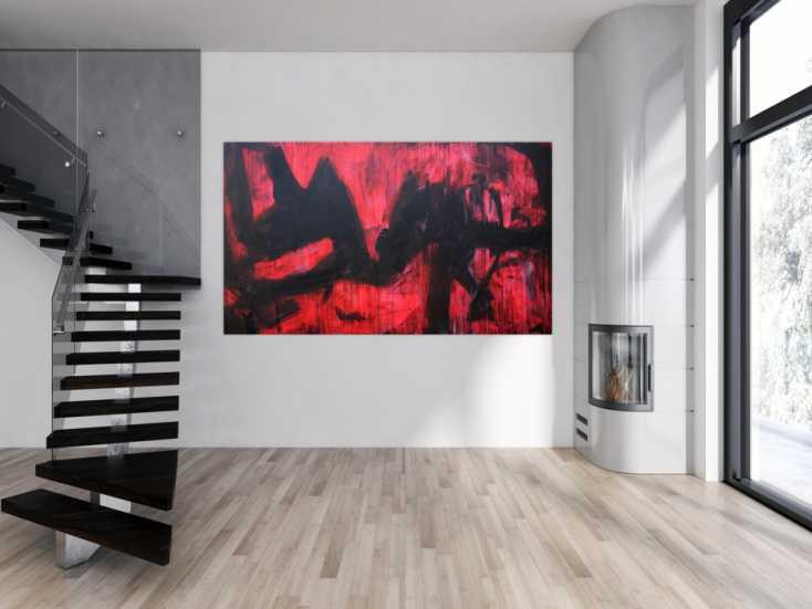 #1240 Abstraktes Acrylbild modern zeitgenössische Mischtechnik in rot und ... 130x220cm von Alex Zerr