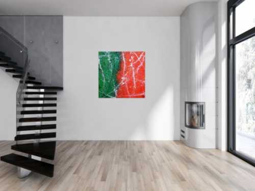 Abstraktes Acrylbild orange grün schwarz weiß sehr modern zeitgenössisch expressionistisch